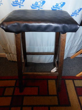 Wood Stool w/Black Padded Seat