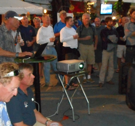 Projector stand & projector in use at sailboat races Jan. 2015