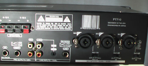 Back of Pyle PT710 amplifier